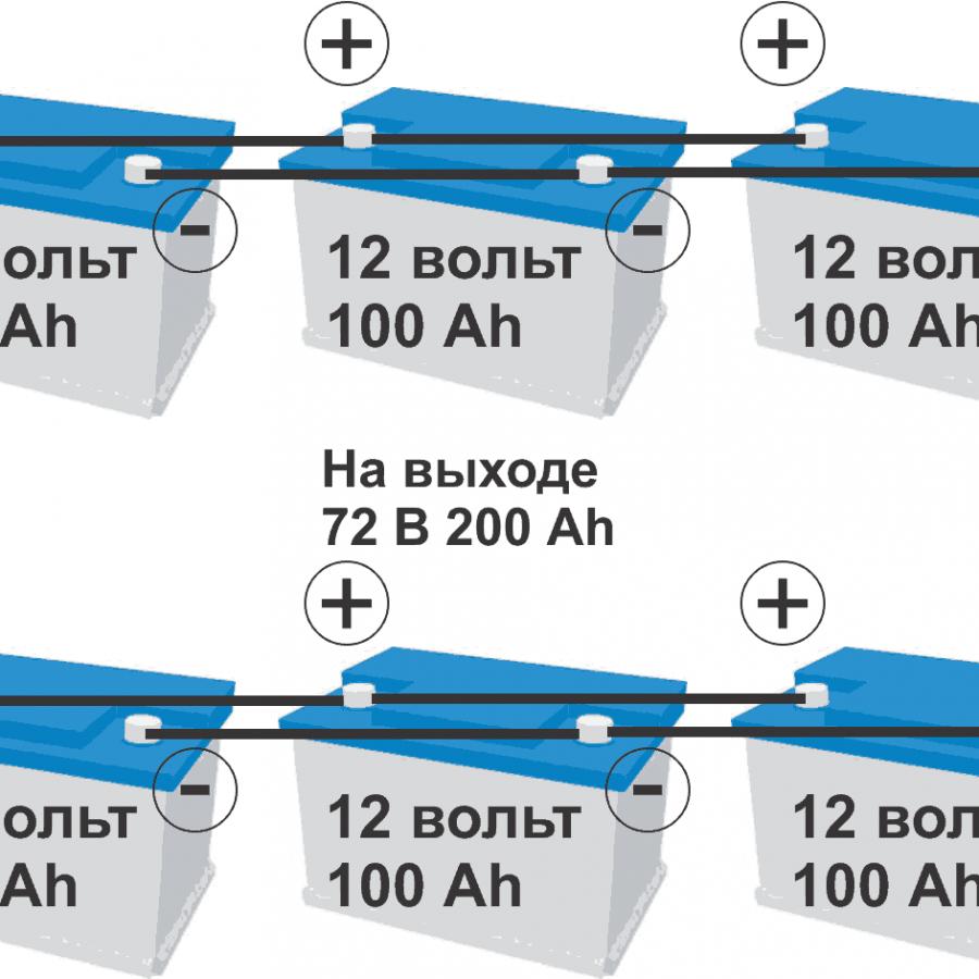 Комбинированное соединение аккумуляторов