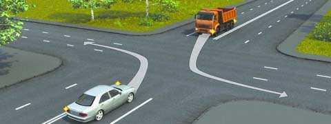 Водитель какого автомобиля, поворачивая налево, не нарушает Правила?