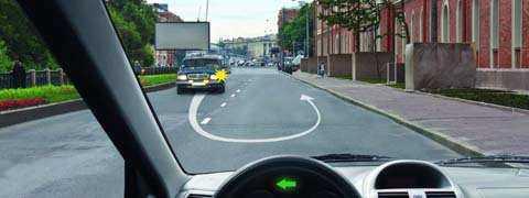 Вы собираетесь начать движение от тротуара. Должны ли Вы уступить дорогу автомобилю, выполняющему разворот?
