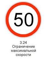3.24 «Ограничение максимальной скорости». Запрещается движение со скоростью, превышающей указанную на знаке.