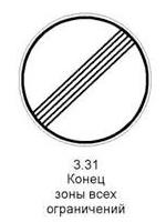 3.31 «Конец зоны всех ограничений». Обозначение конца зоны действия одновременно несколькими знаками из следующих 3.16, 3.20, 3.22, 3.24, 3.26 - 3.30.
