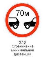 Знак 3.16 «Ограничение минимальной дистанции»
