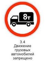 Знак 3.4 «Движение грузовых автомобилей запрещено».