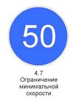 Знак 4.7 «Ограничение минимальной скорости»