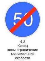 Знак 4.8 «Конец зоны ограничения минимальной скорости»