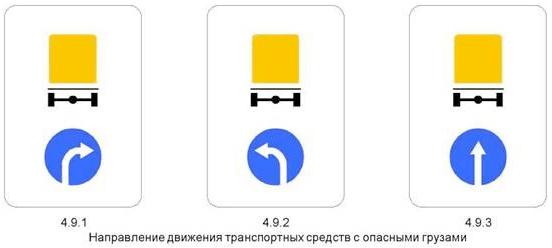 Знак 4.9 «Направление движения транспортных средств с опасными грузами»